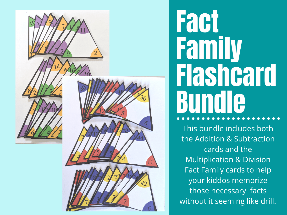 Fact Family Flash Cards Bundle (Addition, Subtraction, Multiplication &  Division)