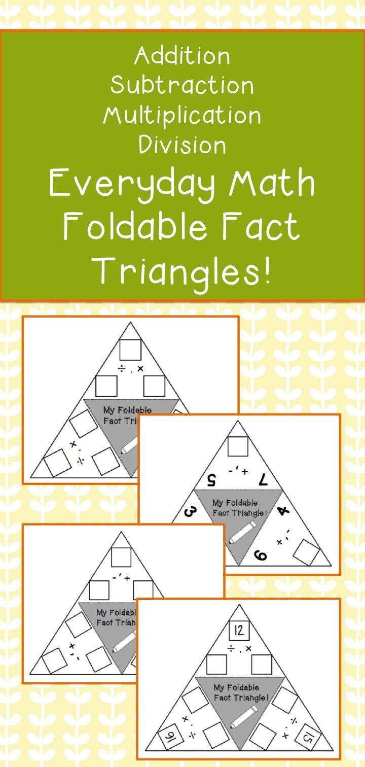 Fact Triangles - Teacherspayteachers | Everyday Math