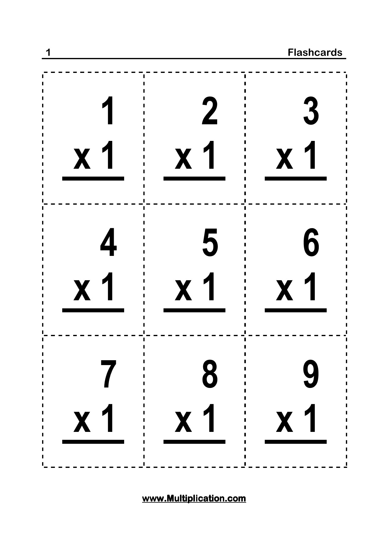Flashcards - 0 - Multiplication Pages 1 - 26 - Text