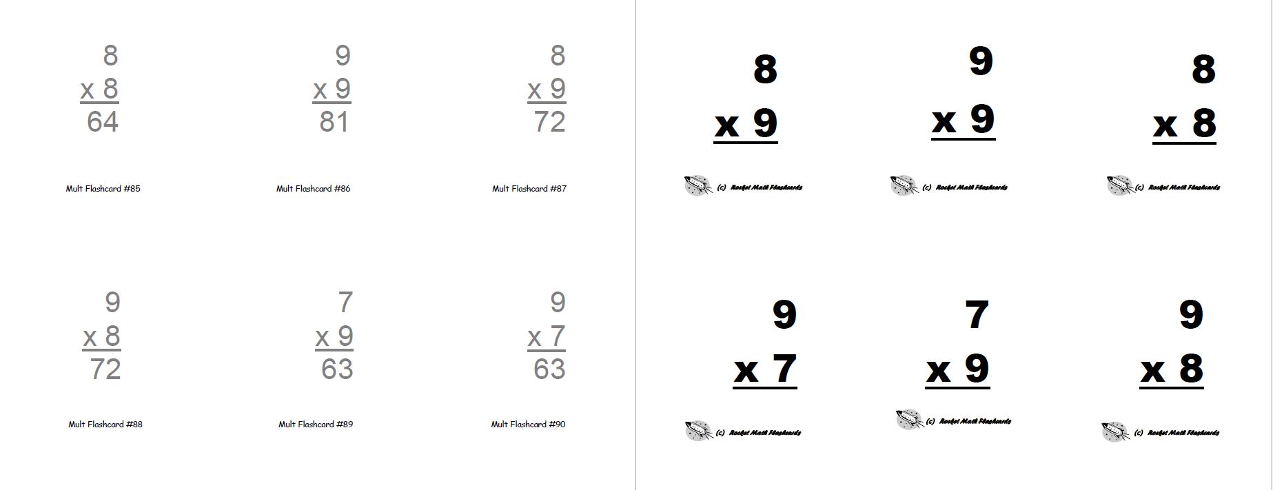 Flashcards (Print-Yourself) - Rocket Math