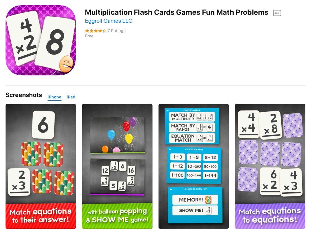 Free Ios App Today: Multiplication Flash Card Games Fun Math