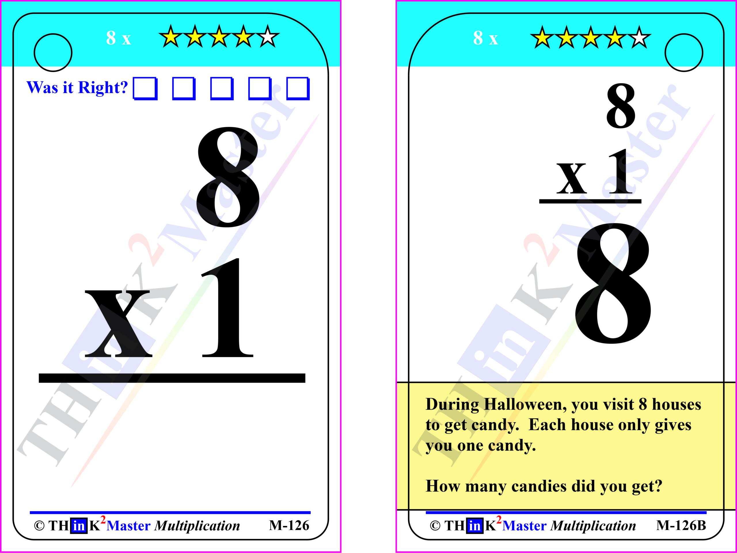 Free Printable 8 X 1 Multiplication Flash Card