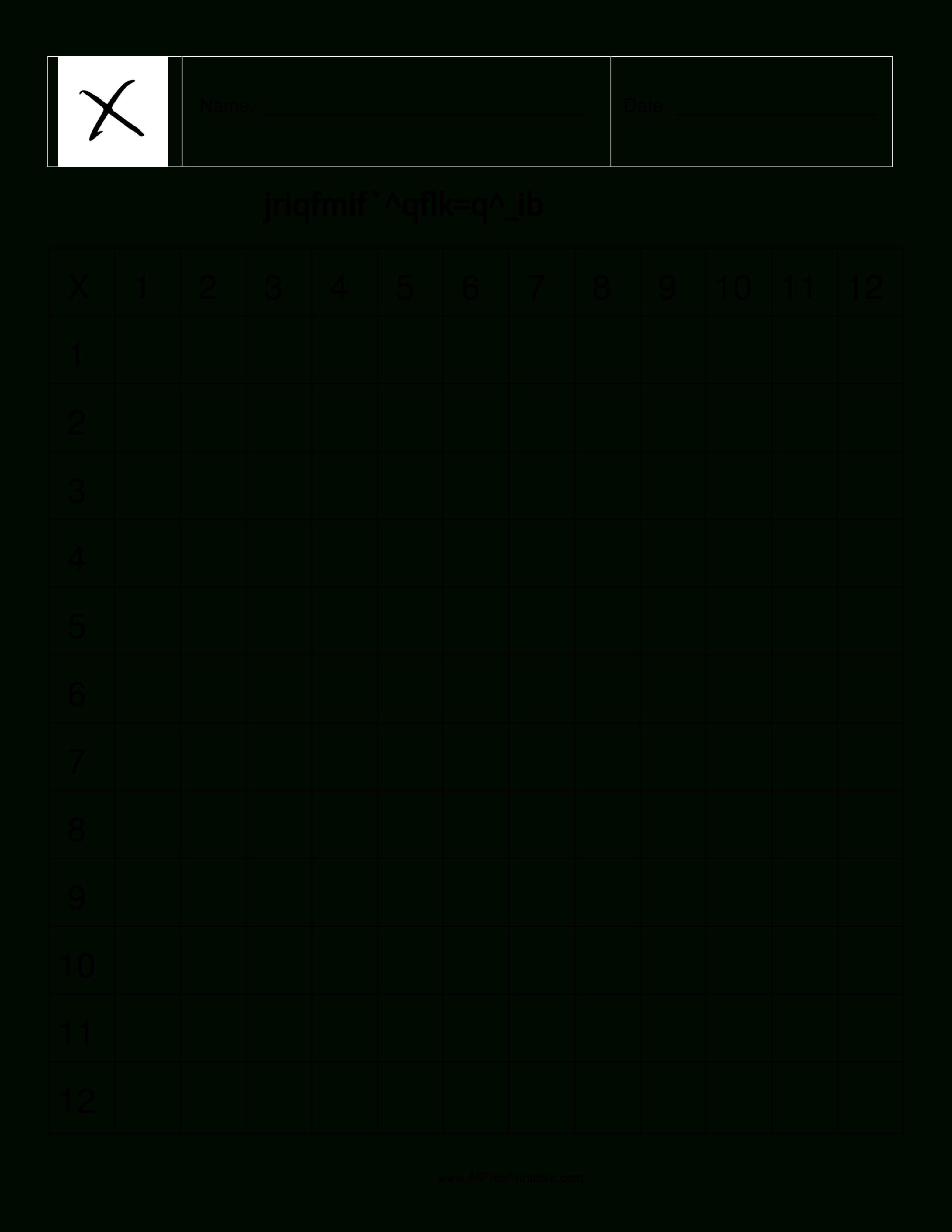 Free Printable Blank Multiplication Table Chart Template Pdf