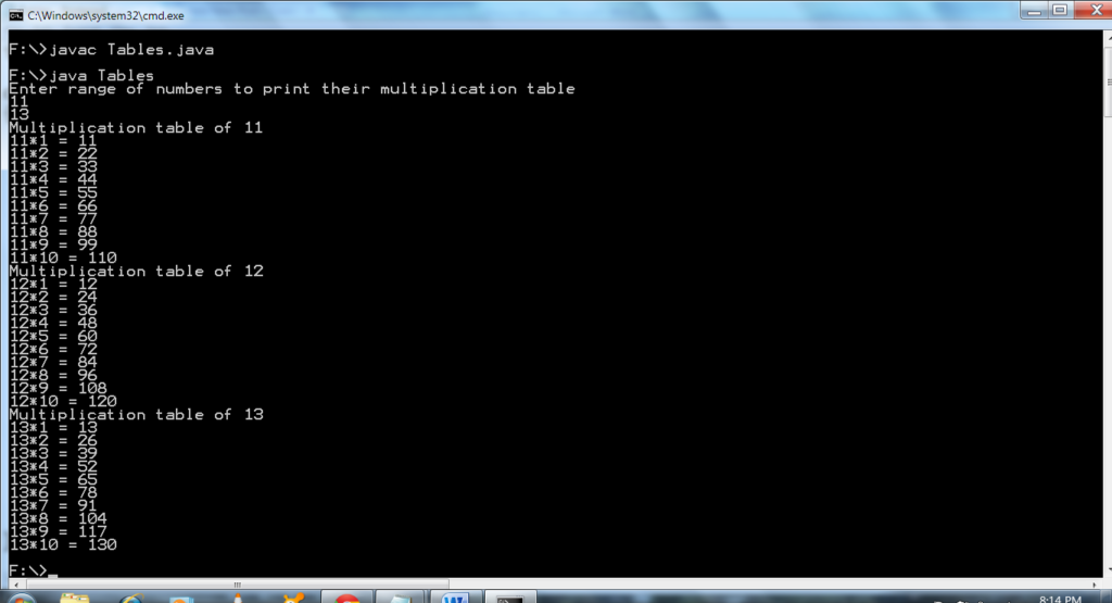 Java Program To Print Multiplication Table | Coderbuzz