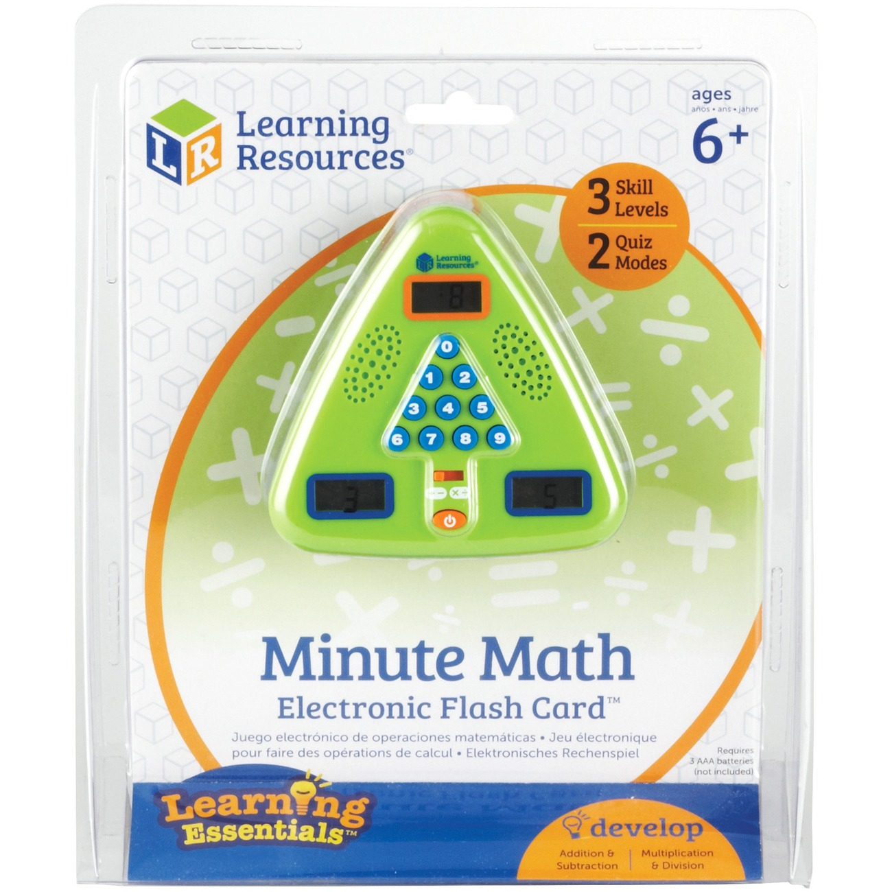 Learning Resources Minute Math Electronic Flash Card - Skill Learning:  Equation Solving, Visual Processing, Audio Feedback, Addition, Subtraction,