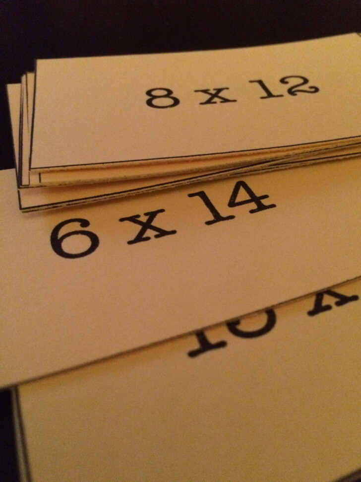 Multiplication Flash Cards 6th Grade