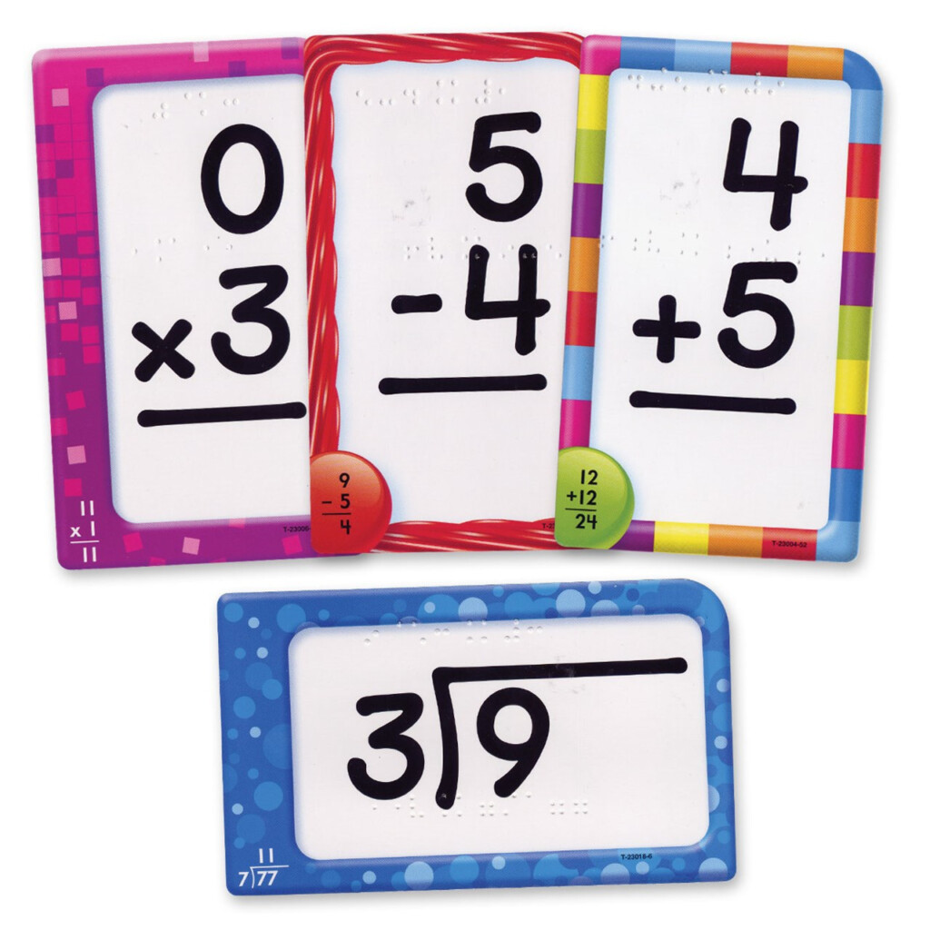 Math Facts Combo Set Pocket Flash Cards With Braille