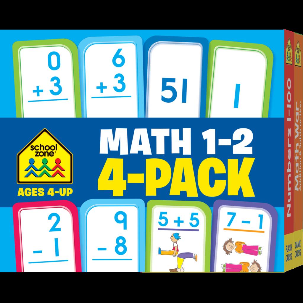 Math Grades 1 2 Flash Cards 4 Pack