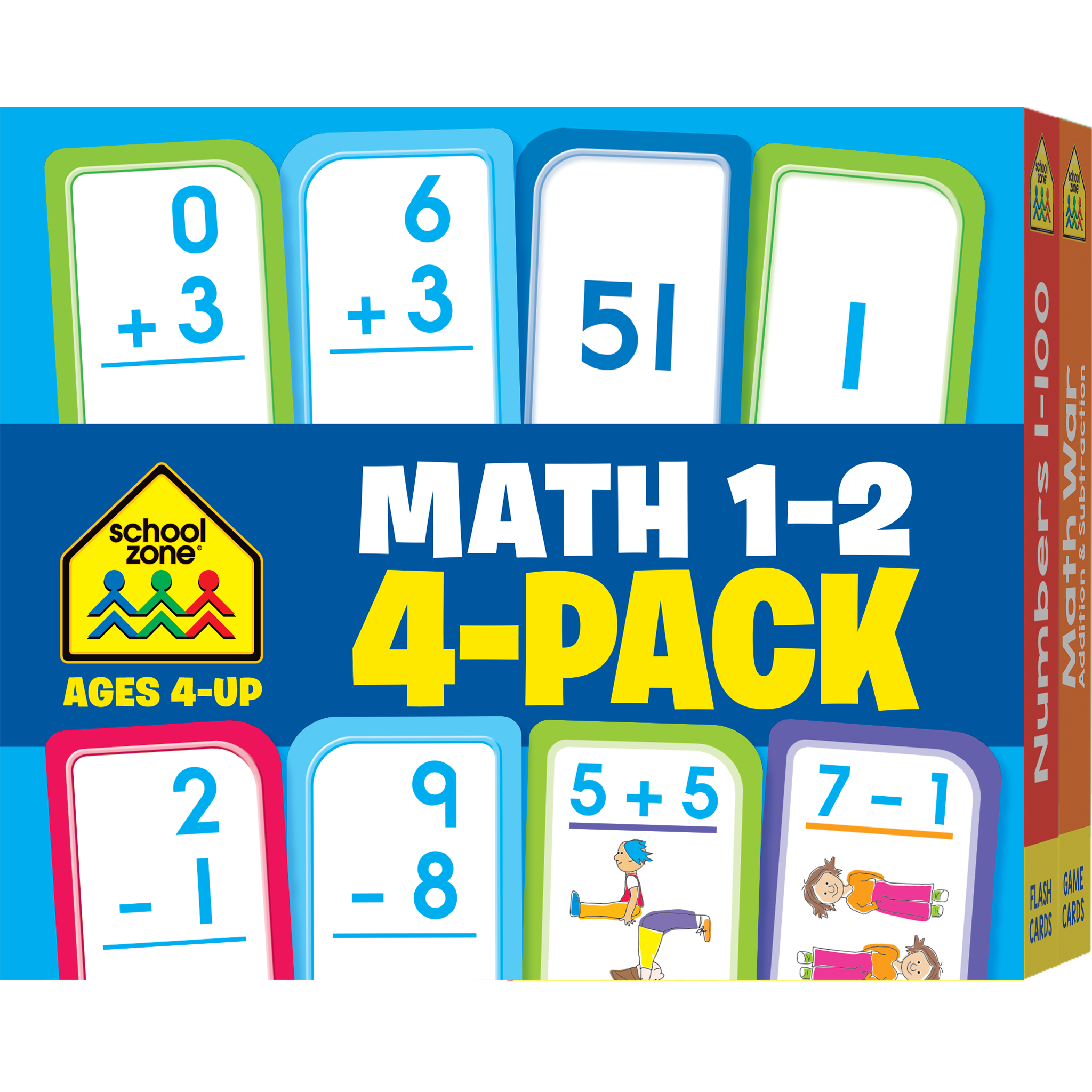 Math Grades 1-2 Flash Cards 4-Pack