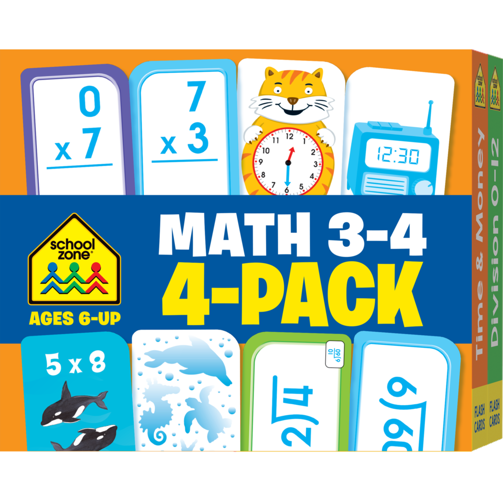 Math Grades 3 4 Flash Cards 4 Pack