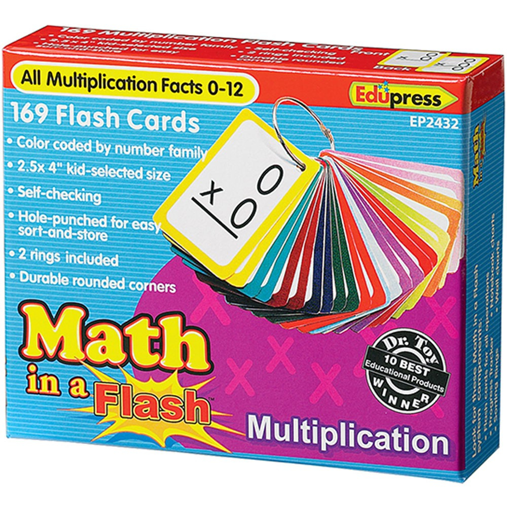 Math In A Flash Color-Coded Multiplication Flash Cards, 169 Cards