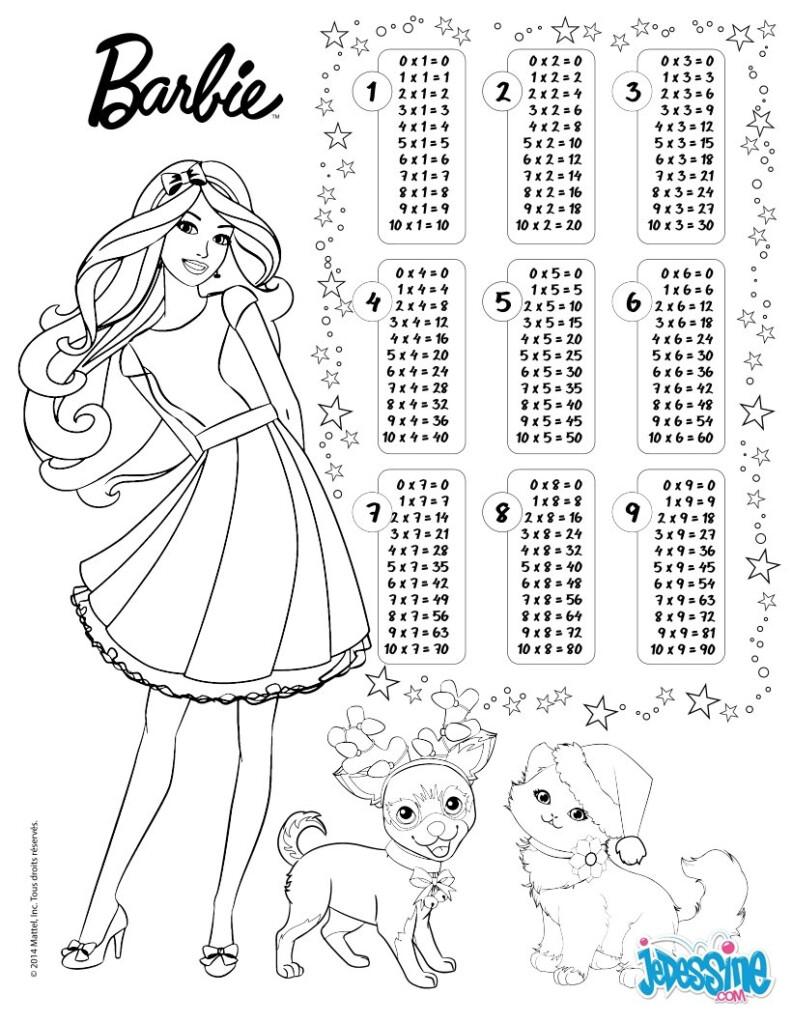 Math Worksheet : Multiplication Colouring Table Barbie