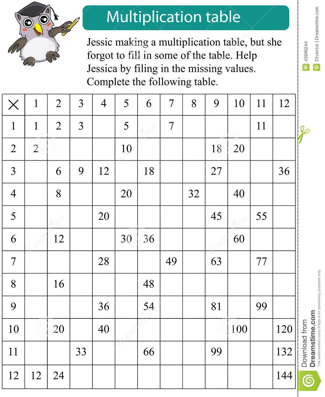 Mathematics Multiplication Table Missing Stock Vector