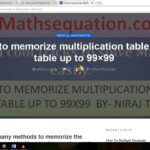 Memorize Multiplication Table Up To 100 Within 15 Minutes