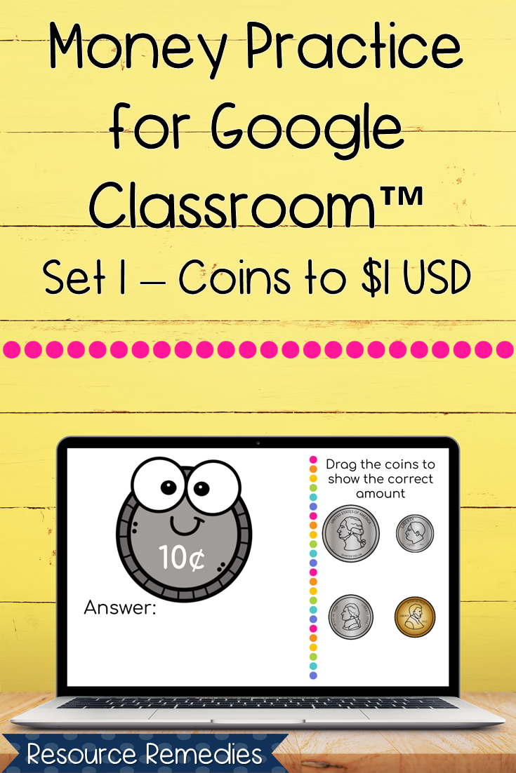 Money Practice For Google Classroom™ | Set 1 Coins To $1 Usd