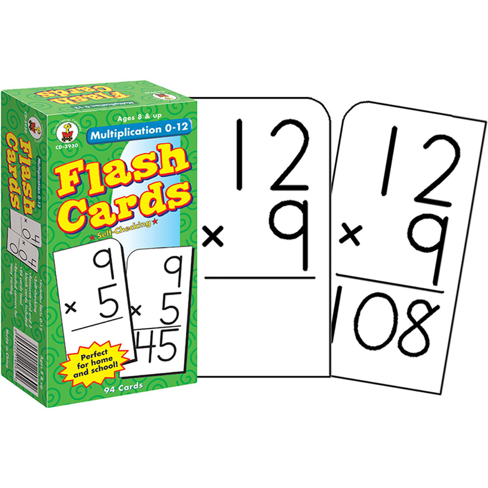 Multiplication 0 12 Flash Cards, Ages 8   10