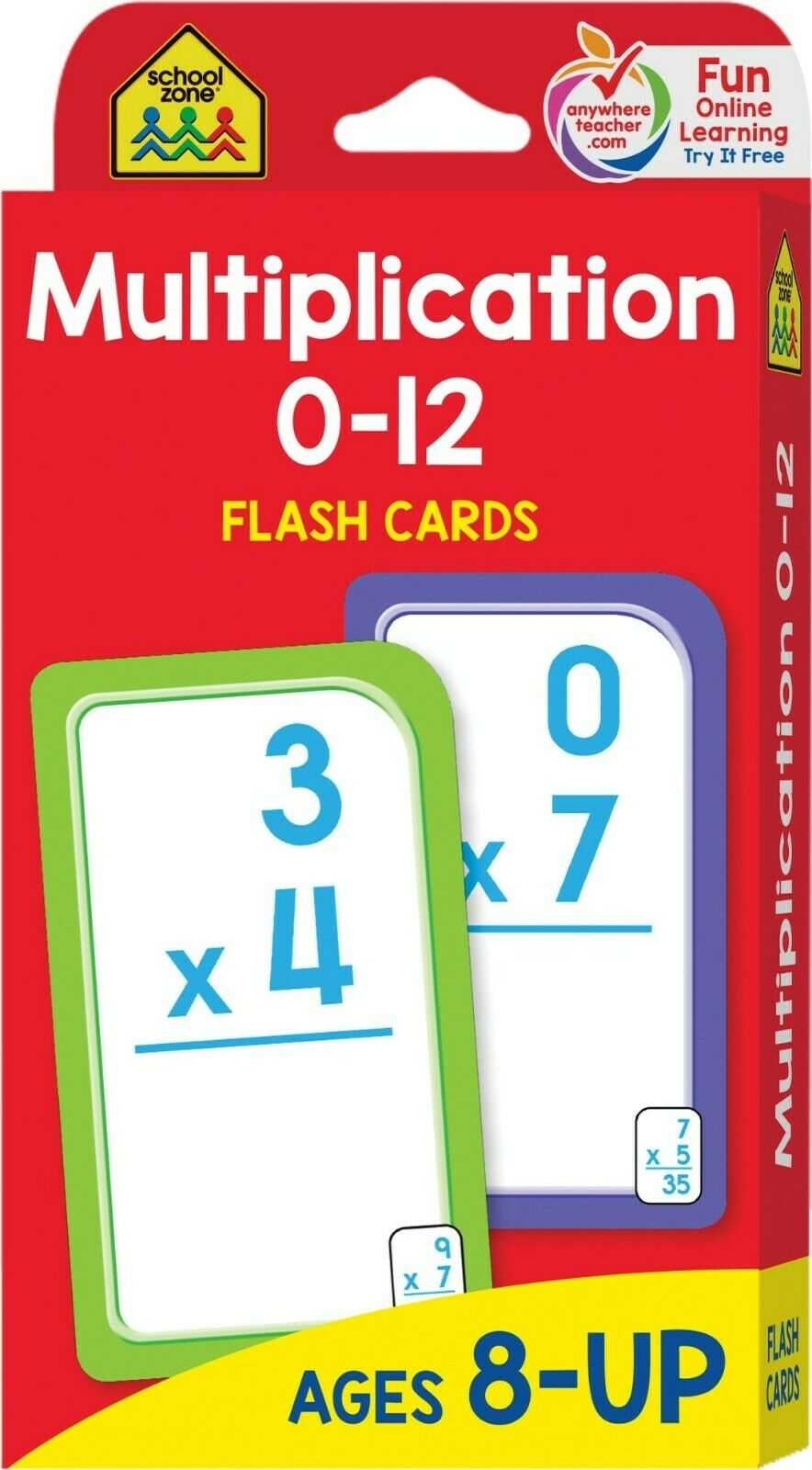 Multiplication 0-12 Flash Cards Ages 8 Up Grades 3 To 5 Math Game