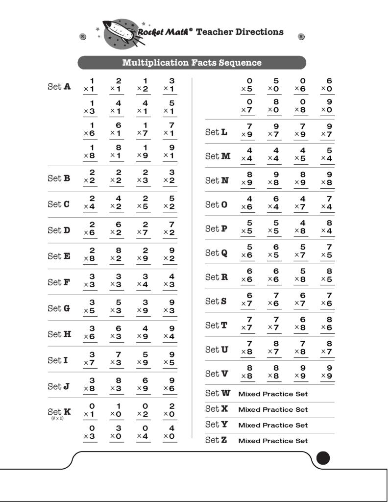 Multiplication 1S Through 9S [Basic]   Rocket Math