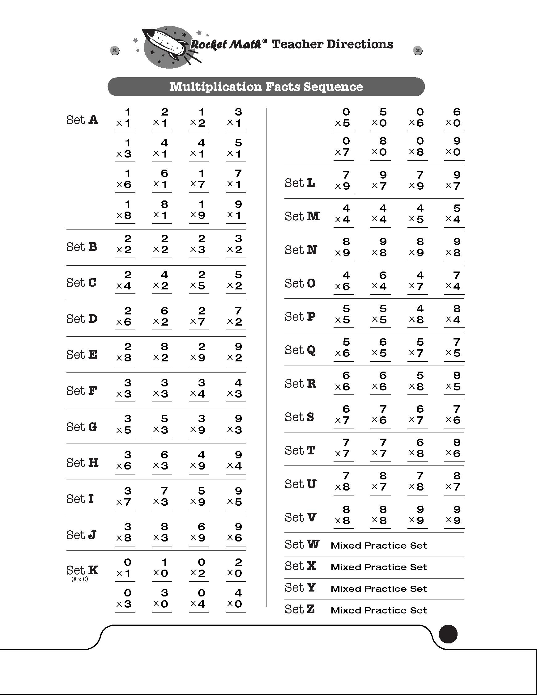 Multiplication 1S Through 9S [Basic] - Rocket Math
