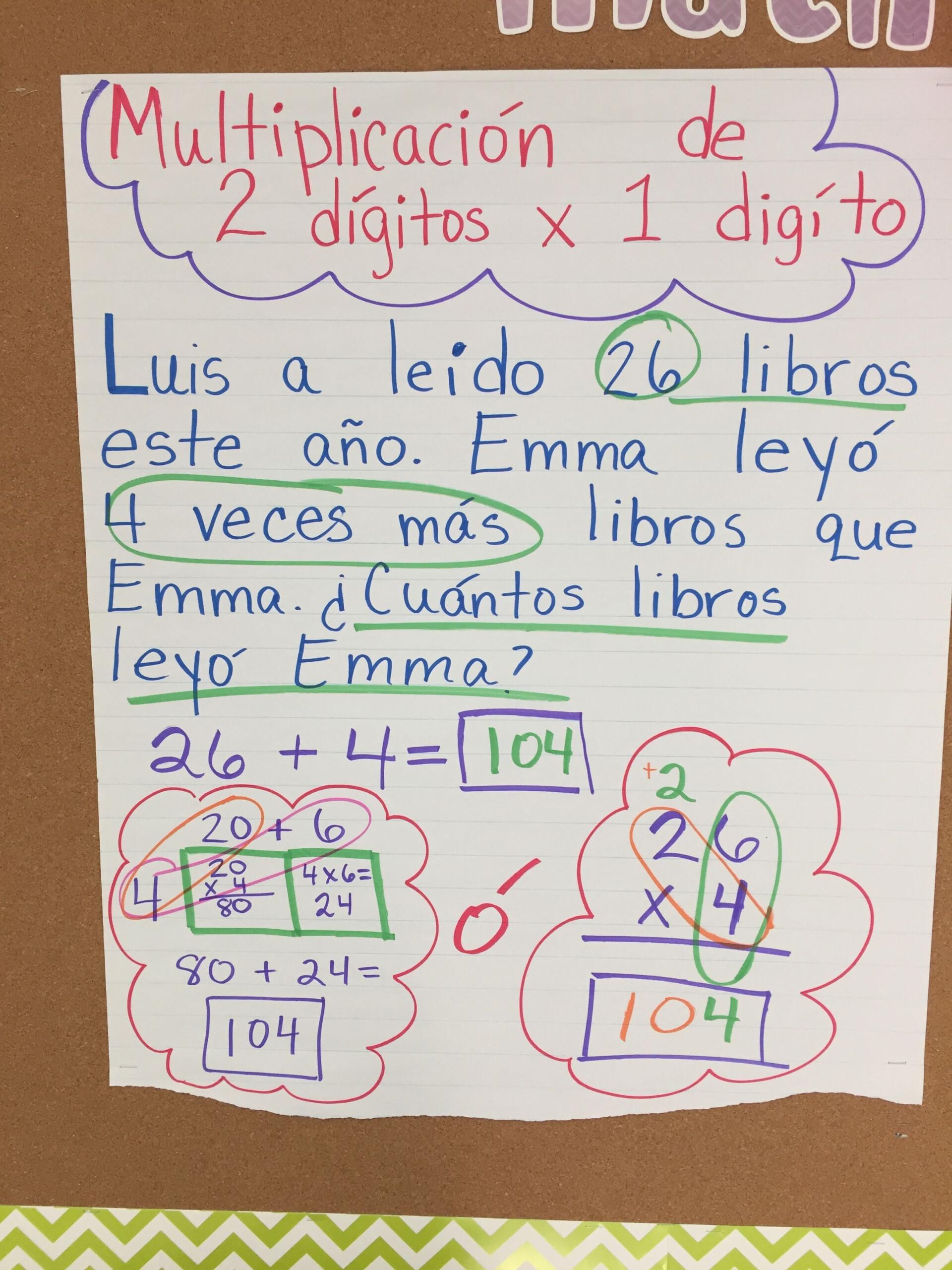 Multiplication 2X1 Digit. Multiplicacion. | Spanish Anchor
