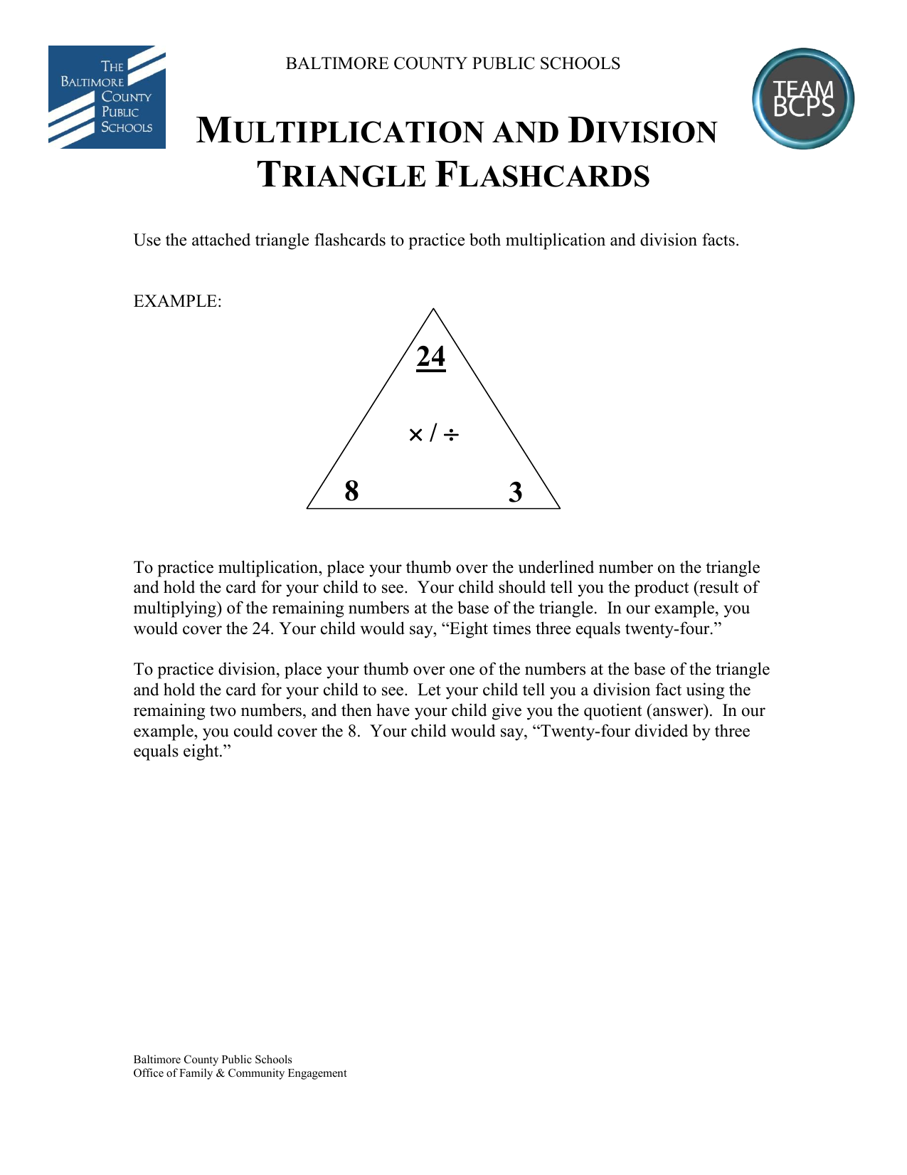 Multiplication And Dividion Triangle Flashcards