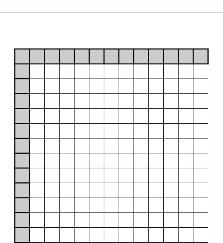 Free Printable Multiplication Table Blank