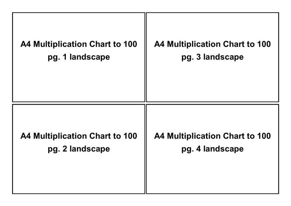 Multiplication Chart To 100