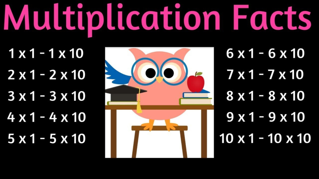 Multiplication Facts 1   10 Times Table   One To Ten Multiplication Flash  Cards In Order 3Rd Grade