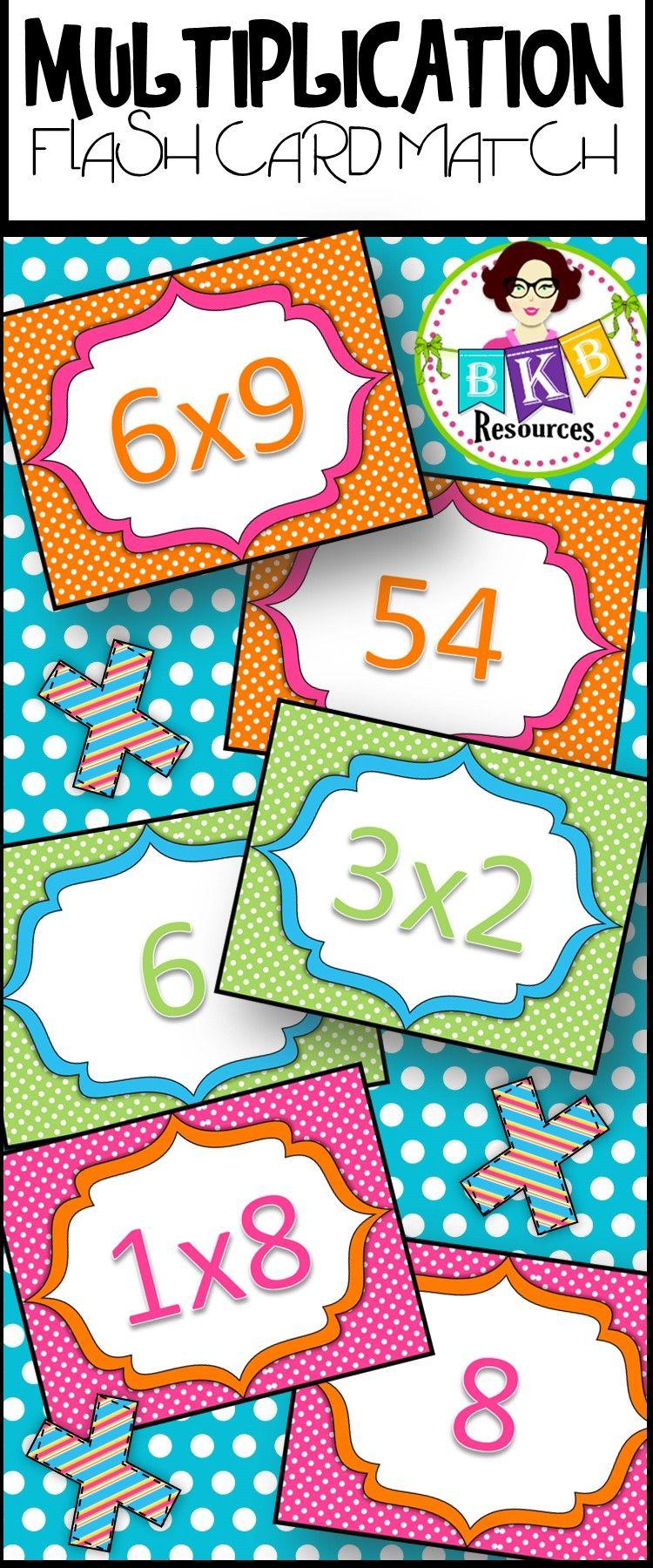 Multiplication Flash Card Match. Printable Multiplication