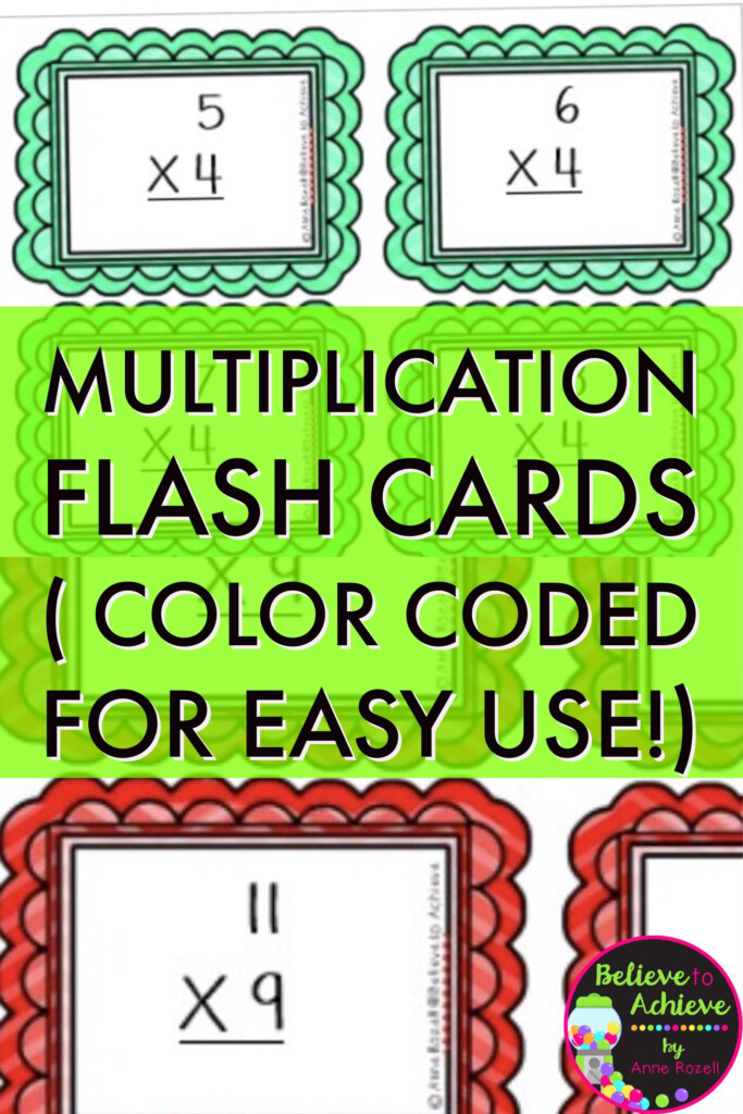 Multiplication Flash Cards! Color Coded For Easy Use! Facts