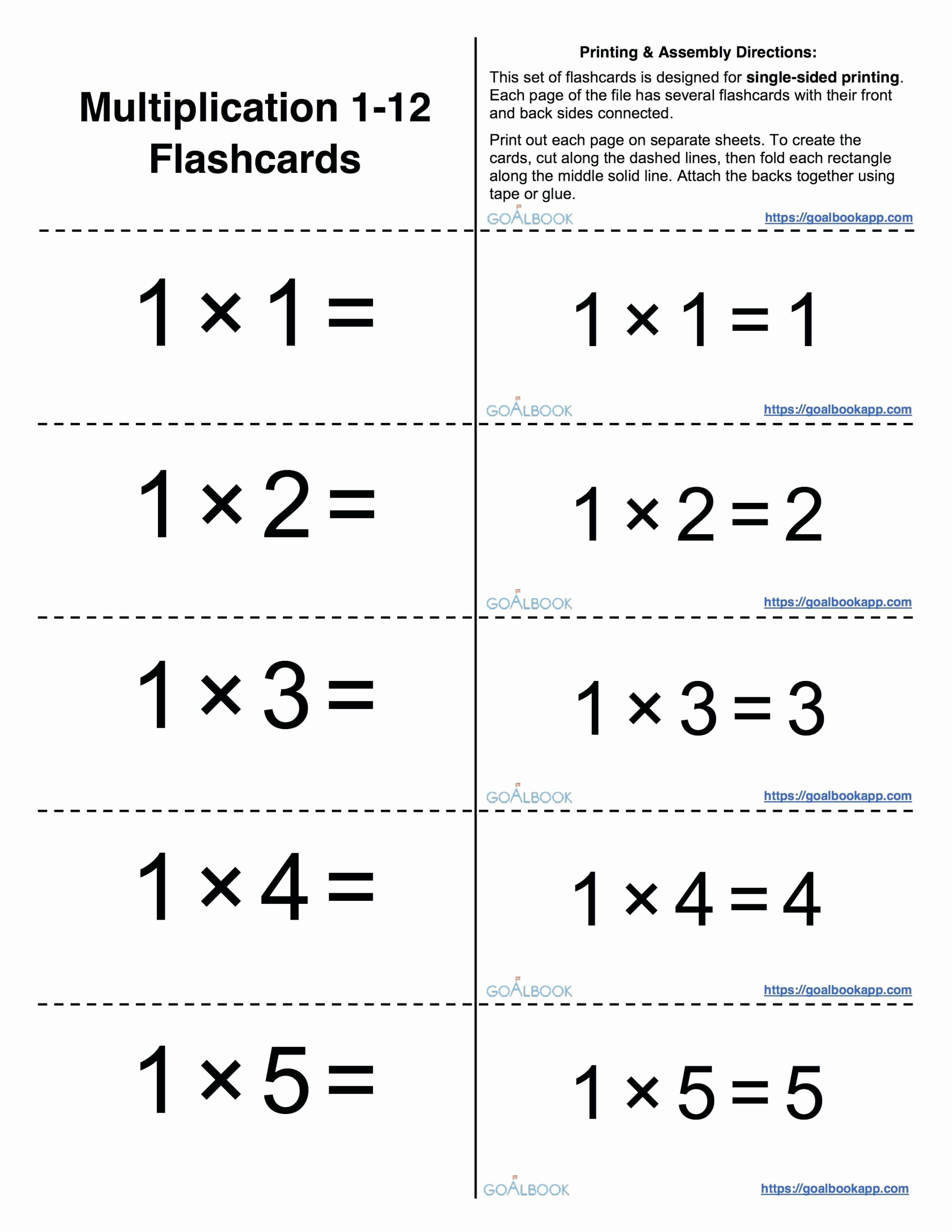 Multiplication Flash Playing Cards Printable Then Luxurious