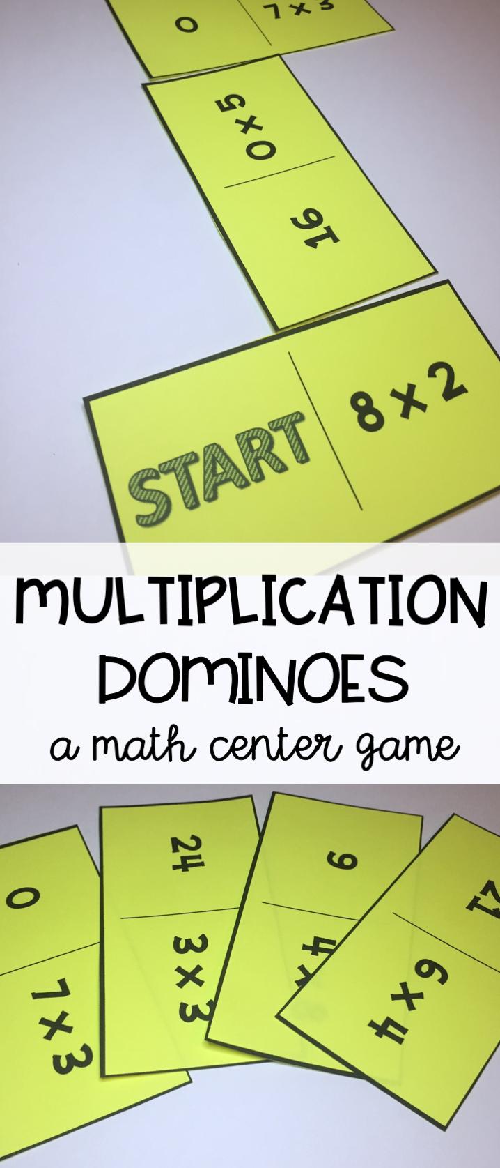 Multiplication Math Center - Multiplication Dominoes - A Fun