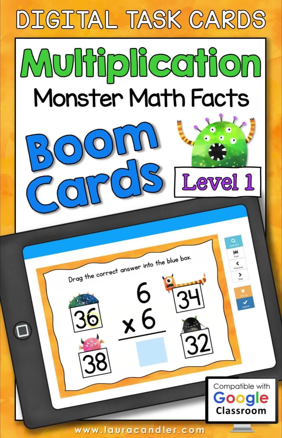 Multiplication Math Facts Level 1 Boom Cards - Digital Task Cards [Video]  [Video] In 2020 | Math Facts, Digital Task Cards, Task Cards