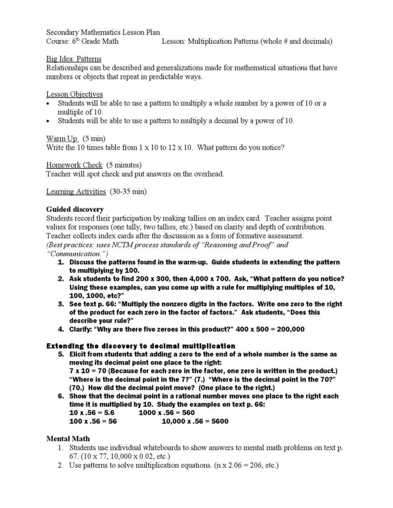 Multiplication Patterns: Lesson Plantransform Now