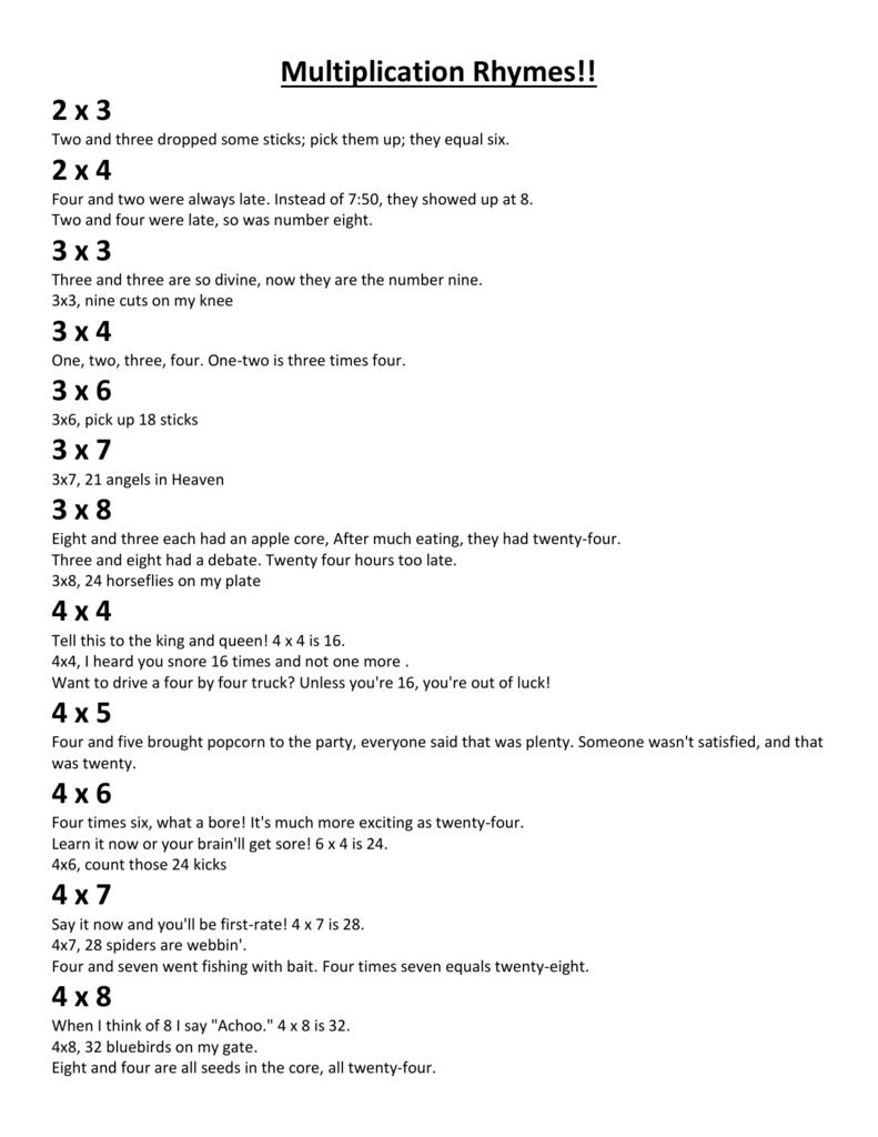 Multiplication Rhymes