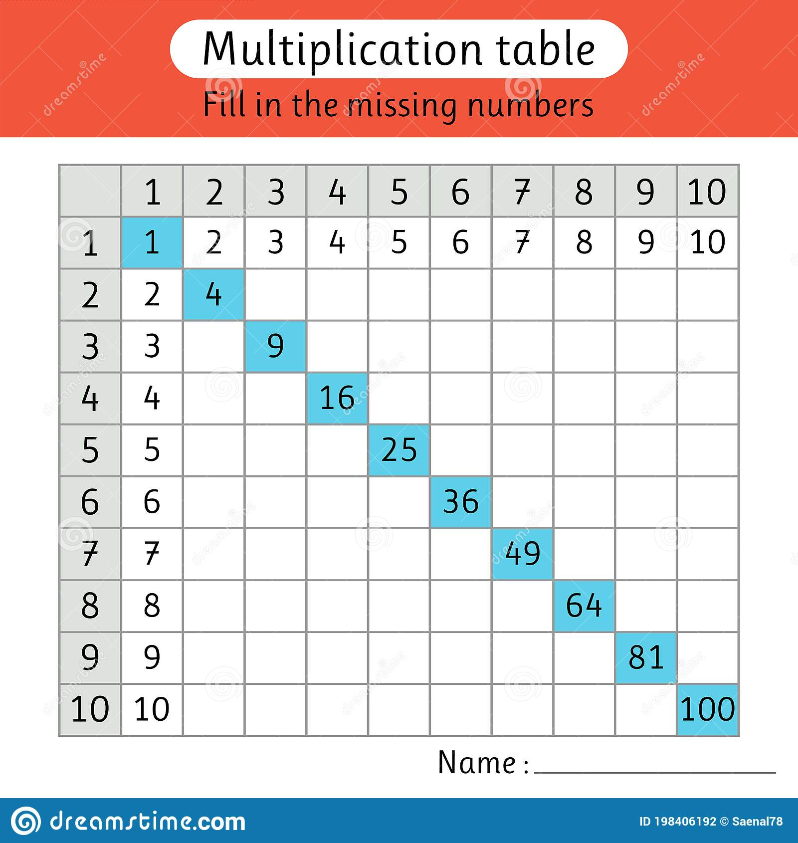 Multiplication Table. Fill In The Missing Numbers