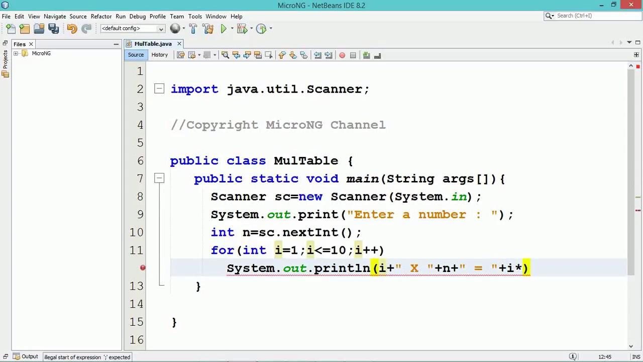 Multiplication Table In Java Program | Java Tutorial For Beginners