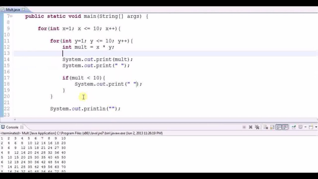 Multiplication Table Using Nested Loops | Codemasry