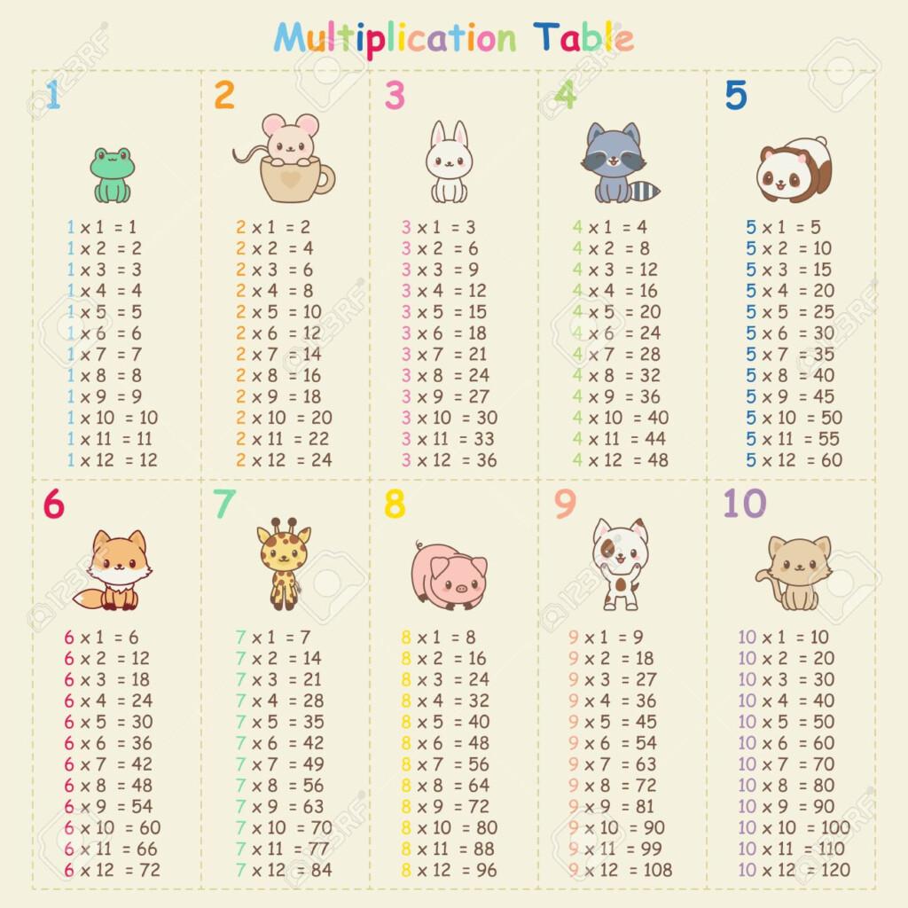 Multiplication Table With Cute Kawaii Animals. Educational Art..