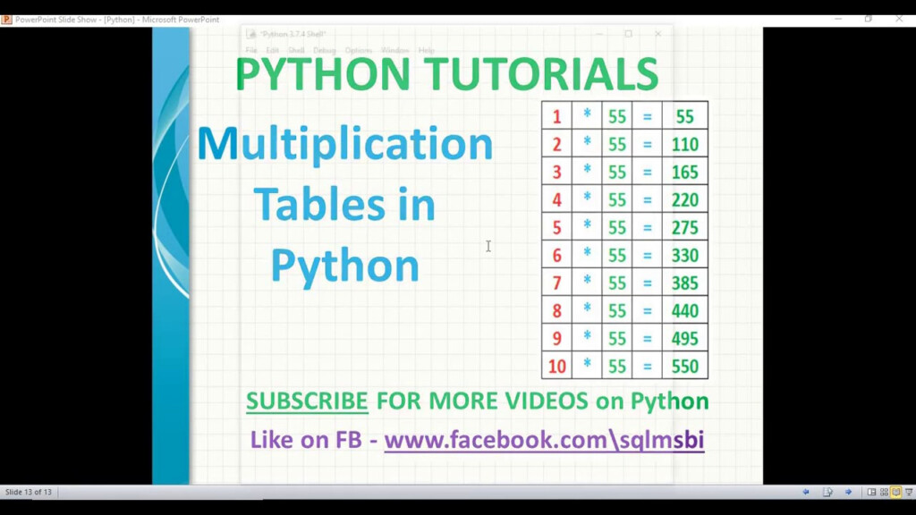 Multiplication Tables In Python | Python Tables Examples | Python Tutorials
