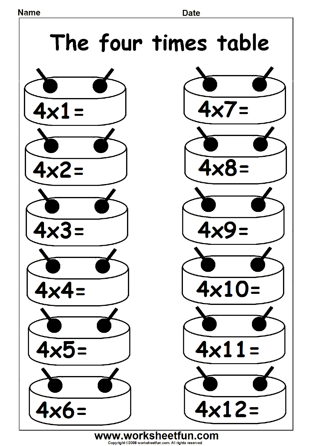 Multiplication Times Table Practice - 2-12 Times Table