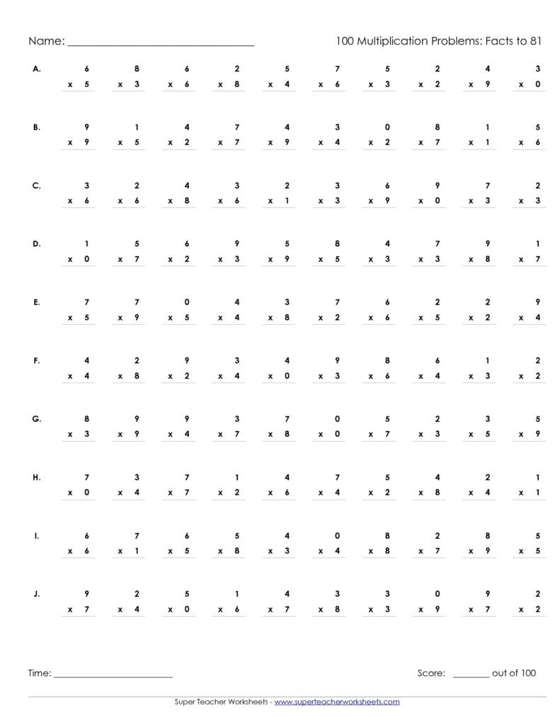 Multiplication Worksheet X 100 | Printable Worksheets And