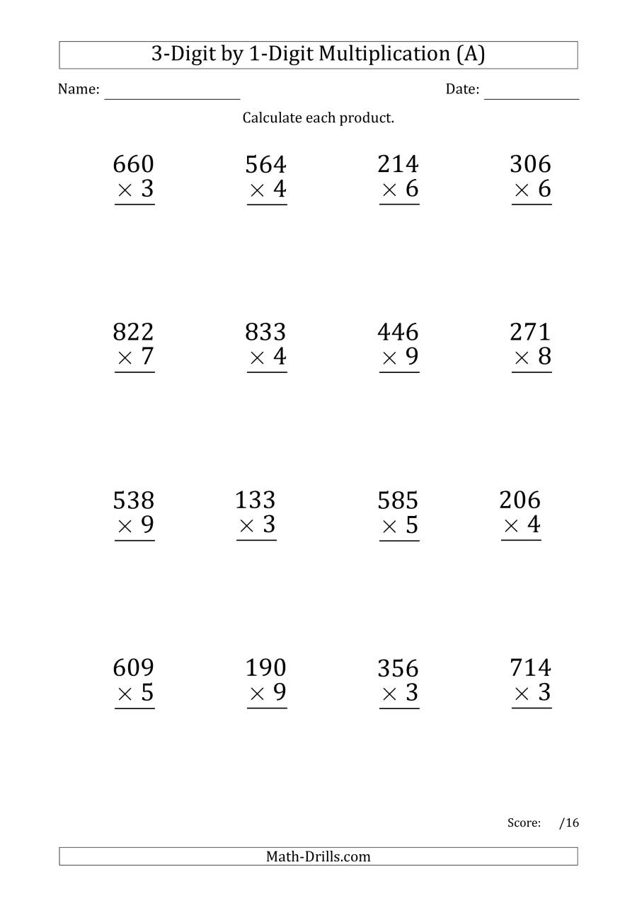 Multiplying 3-Digit1-Digit Numbers (Large Print) With