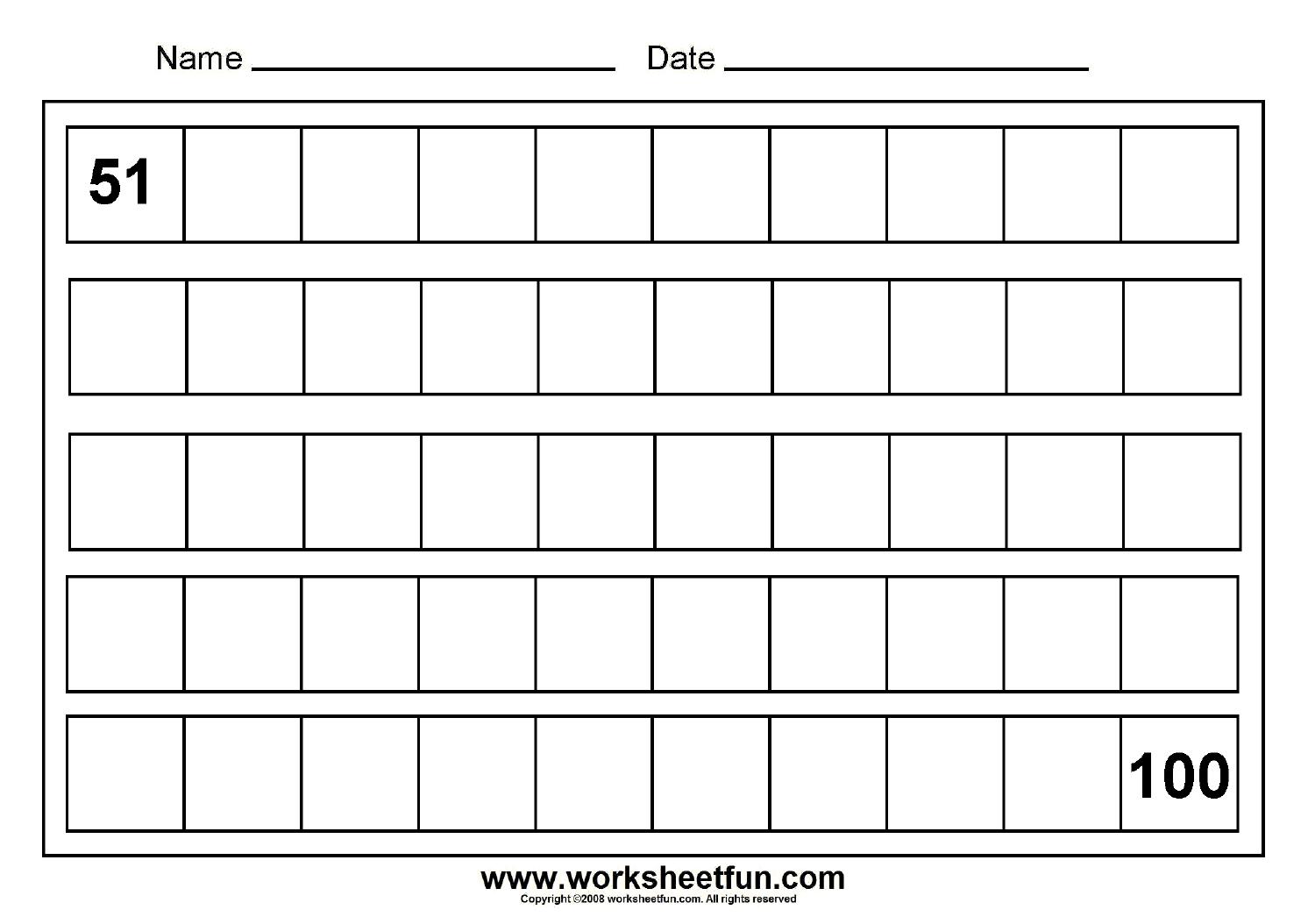 Numbers 50 100 Worksheets | Printable Worksheets And
