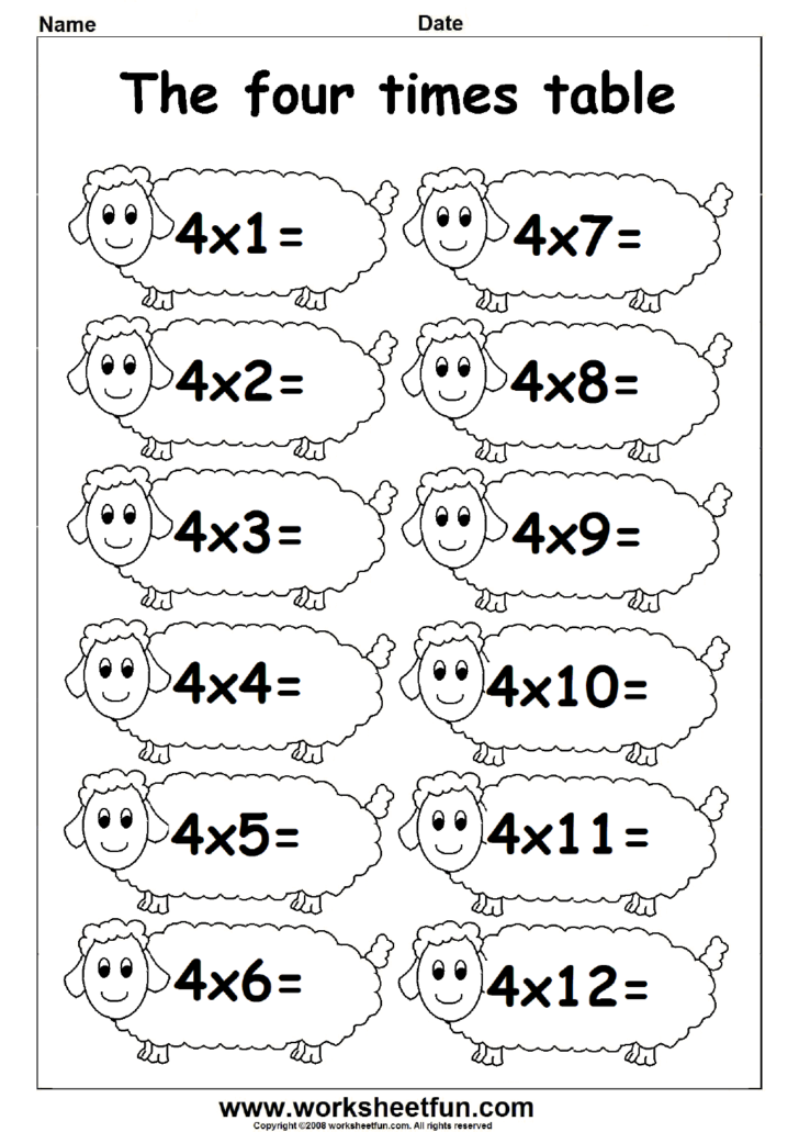 Multiplication Worksheets Table 4