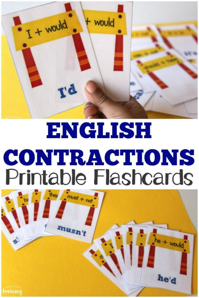 Printable English Contractions Flashcards For Kids