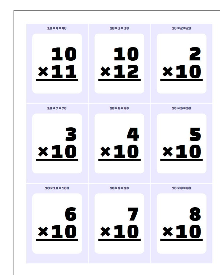 Multiplication Flash Cards Printable 1-10