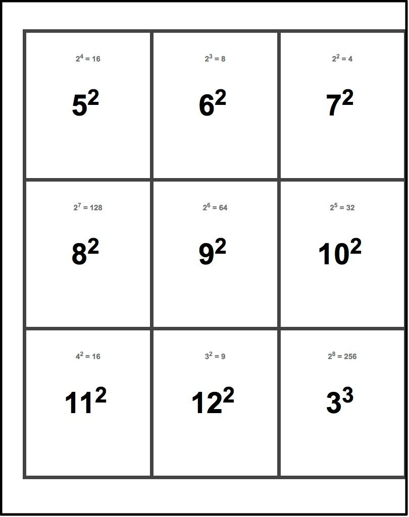Printable Flash Cards! Exponents Flash Cards | Printable
