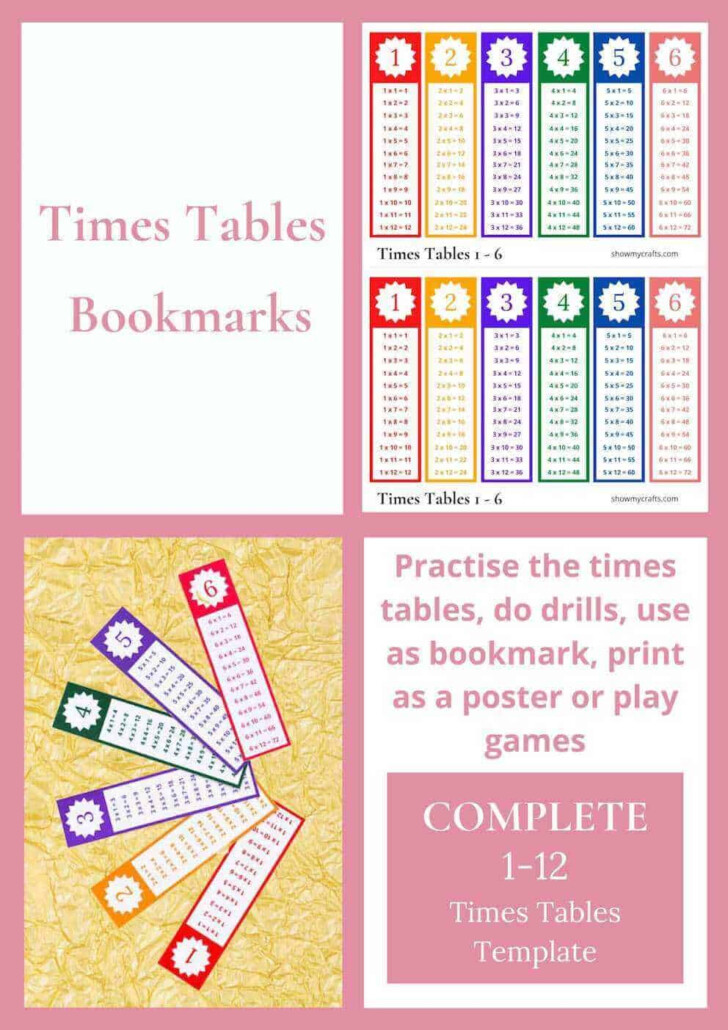 Printable Multiplication Table Bookmark