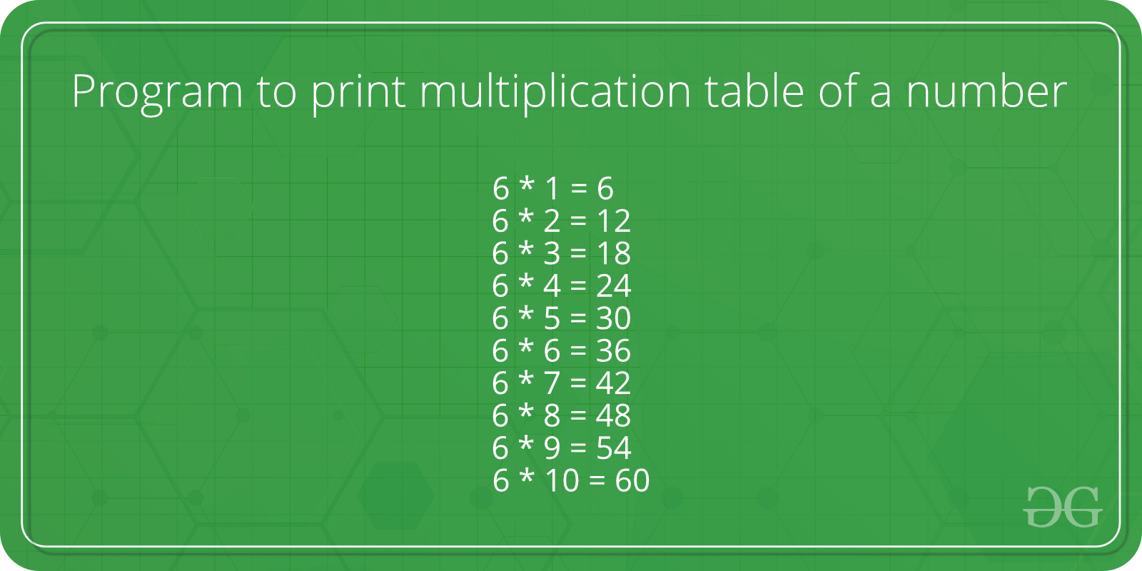Program To Print Multiplication Table Of A Number